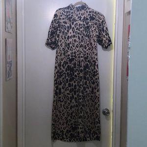 Zara silky leopard print dress size S
